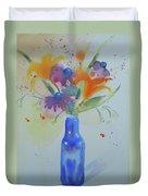 Blue Bottle Bouquet Duvet Cover