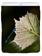 Blue Damsel On Leaf Duvet Cover