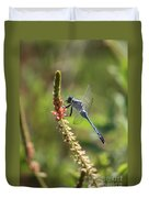 Blue Dragonfly On Pink Flower Duvet Cover