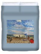 Blue Flag And Red Sun Shade Duvet Cover