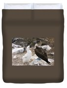 Blue-footed Booby Mother And Chick Duvet Cover