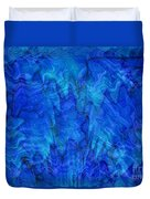 Blue Glass - Abstract Art Duvet Cover by Carol Groenen