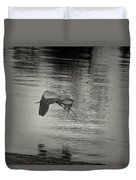 Blue Heron In Platinum Duvet Cover