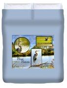 Blue Heron Pose Duvet Cover