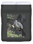 Blue Heron With Fish Duvet Cover