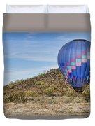 Blue Hot Air Balloon On The Desert  Duvet Cover