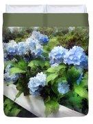 Blue Hydrangea On White Fence Duvet Cover
