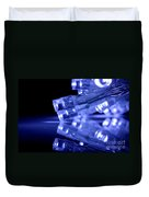 Blue Led Lights Closeup With Reflection Duvet Cover