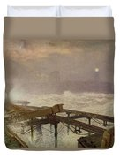 Blue Lights - Teignemouth Pier Duvet Cover