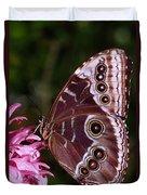 Blue Morpho Butterfly On Flower Duvet Cover