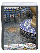 Blue Mosaic Fountain I Duvet Cover