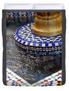 Blue Mosaic Fountain II Duvet Cover