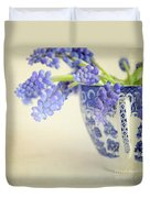 Blue Muscari Flowers In Blue And White China Cup Duvet Cover