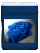 Blue Rose With Drops Duvet Cover