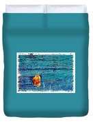 Blue Rusted Steel Painted Background Duvet Cover
