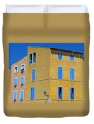 Blue Shutters Martigues France Duvet Cover