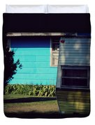 Blue Siding And Camper Duvet Cover