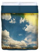 Blue Sky On Old Grunge Paper Duvet Cover