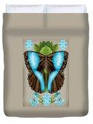 Blue Tiled Butterfly Duvet Cover