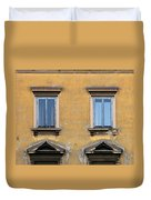 Blue Windows On A Yellow Wall In Milan Duvet Cover