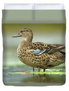 Blue-winged Teal Anas Discors Female Duvet Cover