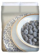 Blueberries In Blue And White China Bowl Duvet Cover