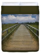 Boardwalk On The Beach On Lake Michigan Duvet Cover