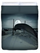 Boat And Moon Duvet Cover