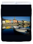Boat And Village Duvet Cover
