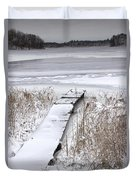 Boat Dock In Winter On A Lake No.0243 Duvet Cover