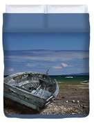 Boat Lying Shipwrecked On A Lake Michigan Shore Duvet Cover