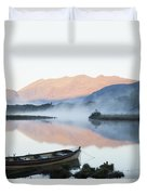 Boat On A Tranquil Lake Killarney Duvet Cover