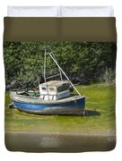 Boat On Banks Of Dee Duvet Cover