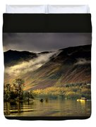 Boat On Lake Derwent, Cumbria, England Duvet Cover by John Short