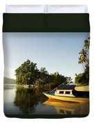 Boat On Sandy Beach Duvet Cover