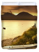 Boat On The Shore At Sunset, Island Of Duvet Cover