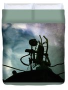 Boat Reflections In Oily Sea Duvet Cover