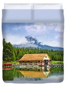Boathouse On Mountain Lake Duvet Cover