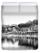 Boathouse Row In Black And White Duvet Cover