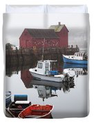 Boats At Rockport Harbor Duvet Cover
