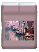 Boats Bridge And Reflections In A Venice Canal Duvet Cover
