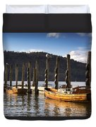 Boats Docked On A Pier, Keswick Duvet Cover