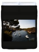Boats In Cala Figuera Duvet Cover