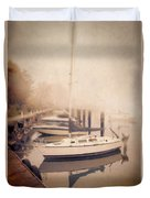 Boats In Foggy Harbor Duvet Cover