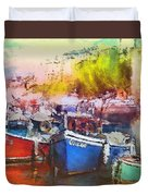 Boats In Italy Duvet Cover