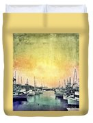Boats In The Harbor Duvet Cover