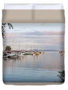 Boats In The Harbour At Sunset Thunder Duvet Cover