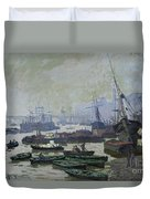 Boats In The Pool Of London Duvet Cover