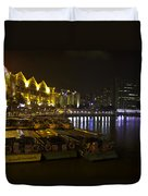 Boats Moored To The Side At Clarke Quay In Singapore Duvet Cover
