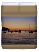 Boats On The Adriatic Sea Duvet Cover